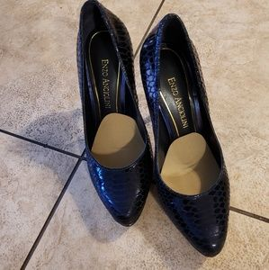 Enzo Angliolini midnight blue snake print leather